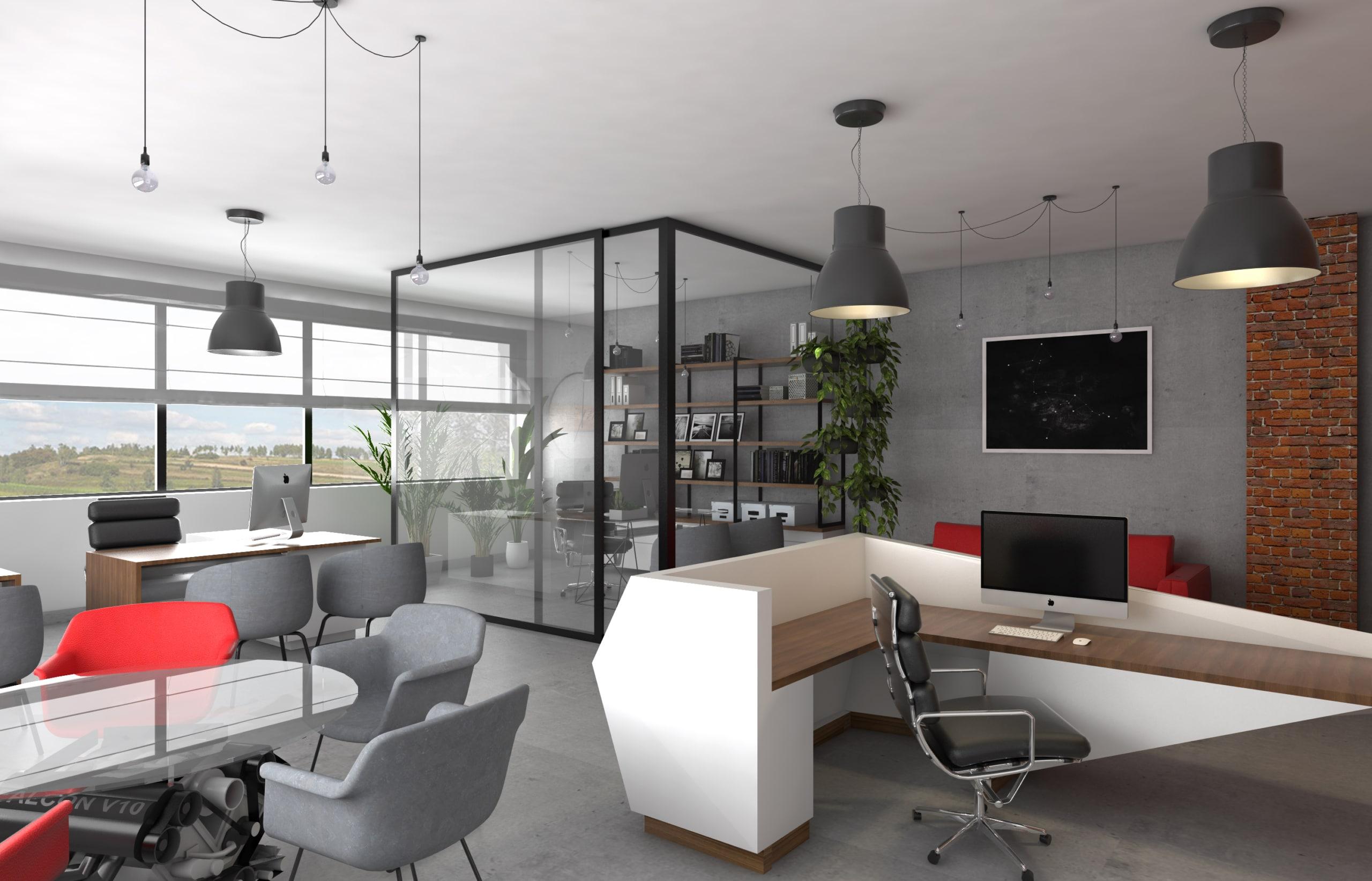 Wnętrza biura ze szklaną ścianą, sekretariatem oraz stołem konferencyjnym zaprojektowany przez architekta wnętrz z wrocławiego Faber.studio.